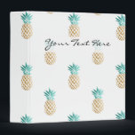 """tropical fresh summer faux gold pineapple pattern 3 ring binder<br><div class=""""desc"""">Cute and summer faux gold and turquoise pineapple pattern. You may choose the color of the background.</div>"""