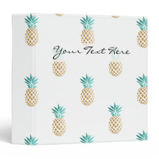 tropical fresh summer faux gold pineapple pattern 3 ring binder