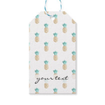 tropical fresh summer faux gold pineapple pattern gift tags