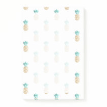 tropical fresh summer faux gold pineapple pattern post-it notes