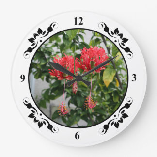Tropical Fringed Coral Hibiscus Flower Large Clock
