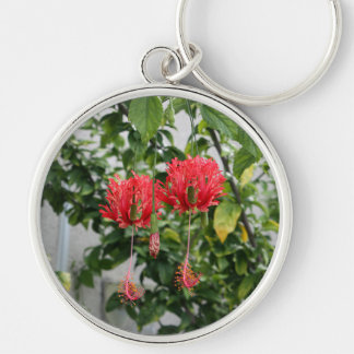 Tropical Fringed Coral Hibiscus Flower Silver-Colored Round Keychain