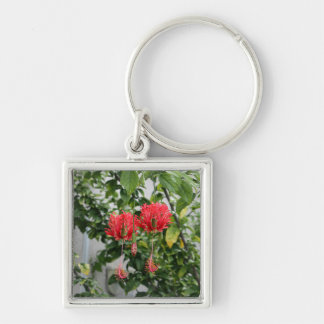 Tropical Fringed Coral Hibiscus Flower Silver-Colored Square Keychain