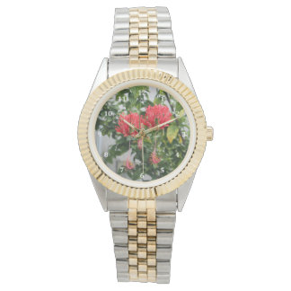 Tropical Fringed Coral Hibiscus Flower Watches