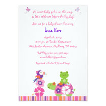 Tropical Frog Turtle Baby Shower Invitations