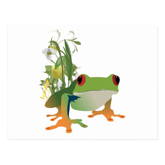 tropical frog vector design postcard