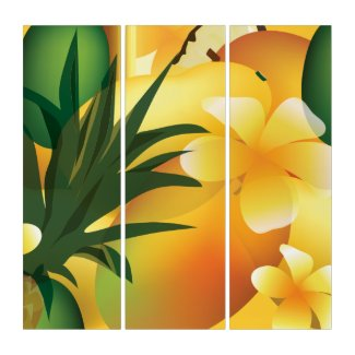 Tropical Fruit and Flowers Kitchen Art Triptych (3) 36