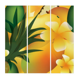 Tropical Fruit and Flowers Kitchen Art Triptych