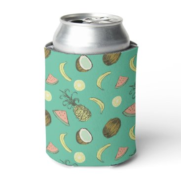 Hawaiian Themed Tropical Fruit Doodle Pattern Can Cooler