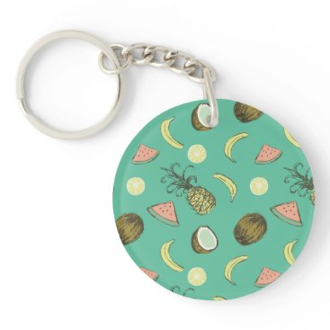 Hawaiian Themed Tropical Fruit Doodle Pattern Keychain
