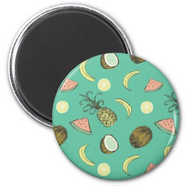 Hawaiian Themed Tropical Fruit Doodle Pattern Magnet