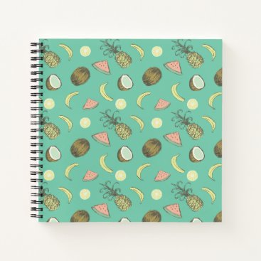 Hawaiian Themed Tropical Fruit Doodle Pattern Notebook