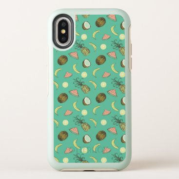 Hawaiian Themed Tropical Fruit Doodle Pattern OtterBox Symmetry iPhone X Case