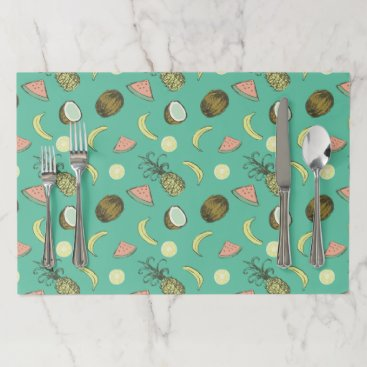 Hawaiian Themed Tropical Fruit Doodle Pattern Paper Placemat