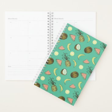 Hawaiian Themed Tropical Fruit Doodle Pattern Planner