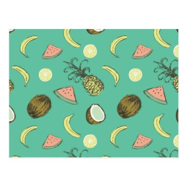 Hawaiian Themed Tropical Fruit Doodle Pattern Postcard