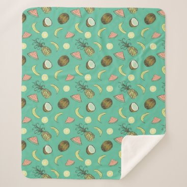 Hawaiian Themed Tropical Fruit Doodle Pattern Sherpa Blanket