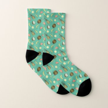Hawaiian Themed Tropical Fruit Doodle Pattern Socks