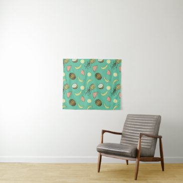 Hawaiian Themed Tropical Fruit Doodle Pattern Tapestry