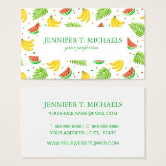 Tropical Fruit Polka Dot Pattern Business Card