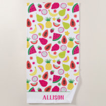 Tropical Fruit Tutti Frutti Pattern Personalized Beach Towel