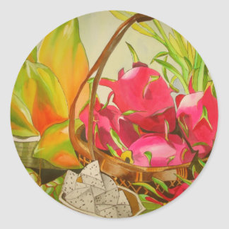 Tropical fruit watercolor still life art painting classic round sticker