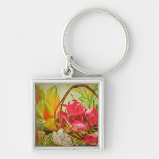 Tropical fruit watercolor still life art painting keychain