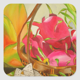 Tropical fruit watercolor still life art painting square sticker