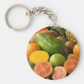 Tropical Fruits Basic Round Button Keychain