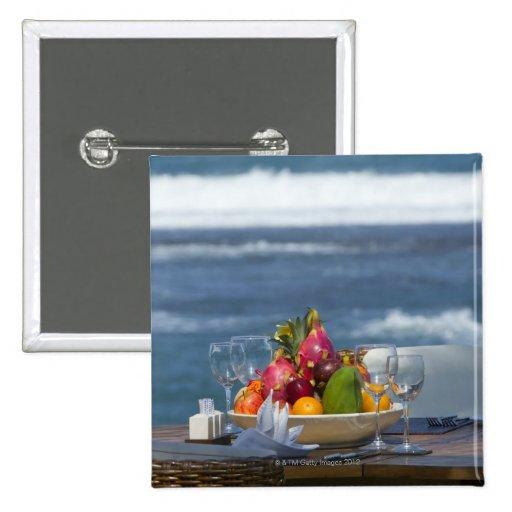 Tropical Fruits By The Ocean On Table 2 Button