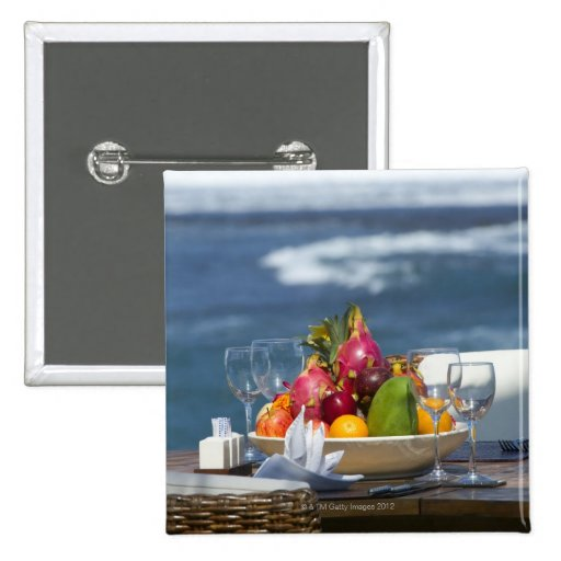 Tropical Fruits By The Ocean On Table Button