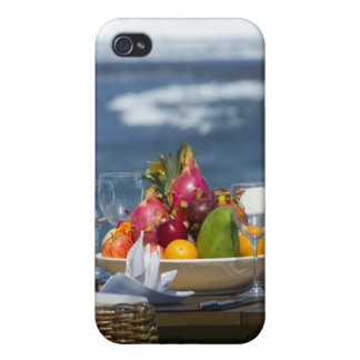 Tropical Fruits By The Ocean On Table iPhone 4/4S Case