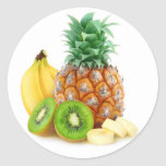Tropical fruits classic round sticker
