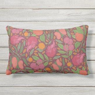 Tropical Fruits on Maroon Lumbar Throw Pillow