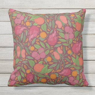 Tropical Fruits on Maroon Throw Pillow