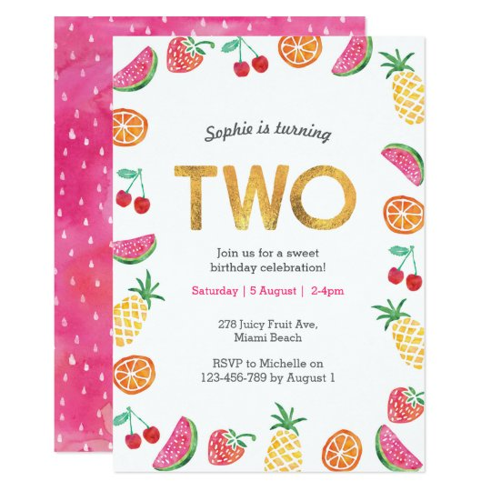 Tropical Fruity Pink Gold 2nd Birthday Invitation