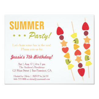Tropical Fruity Summer Birthday Party Card