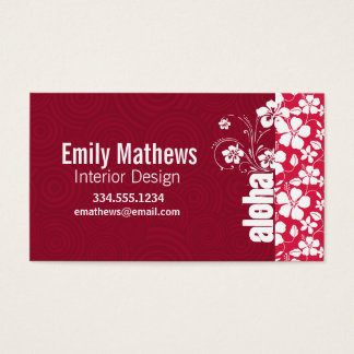 Tropical Fuschia Hibiscus; Aloha Business Card
