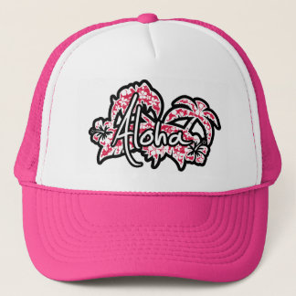 Tropical Fuschia Hibiscus; Aloha Trucker Hat