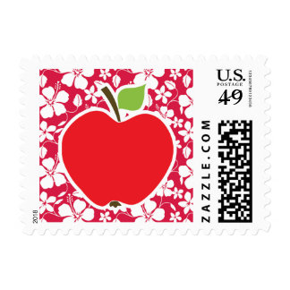 Tropical Fuschia Hibiscus; Apple Postage