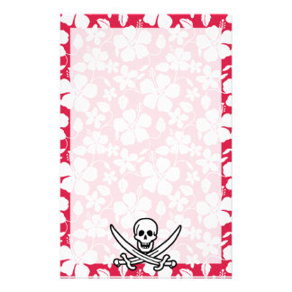 Tropical Fuschia Hibiscus Jolly Roger Stationery Design