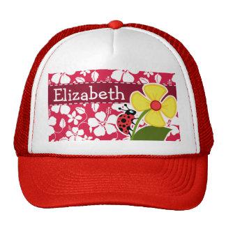 Tropical Fuschia Hibiscus; Ladybug Mesh Hat