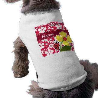 Tropical Fuschia Hibiscus; Ladybug T-Shirt