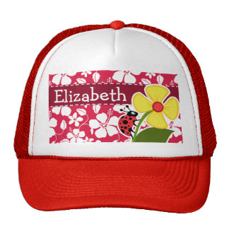 Tropical Fuschia Hibiscus; Ladybug Trucker Hat