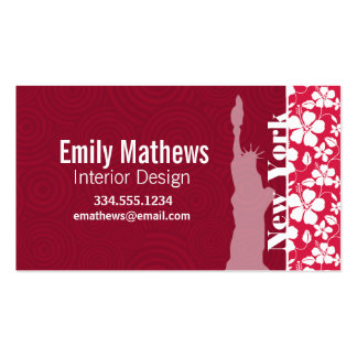 Tropical Fuschia Hibiscus; Statue of Liberty Business Cards