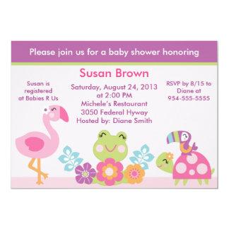 "Tropical Garden/Animals Baby Shower Invitation 5"" X 7"" Invitation Card"