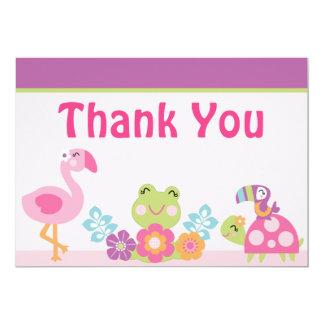 Tropical Garden/Animals Baby Shower Thank You Card