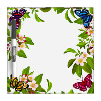 Tropical Garden Butterflies Dry Erase Board
