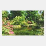 Tropical Garden by Lake Rectangular Stickers