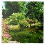 Tropical Garden by Lake Tile